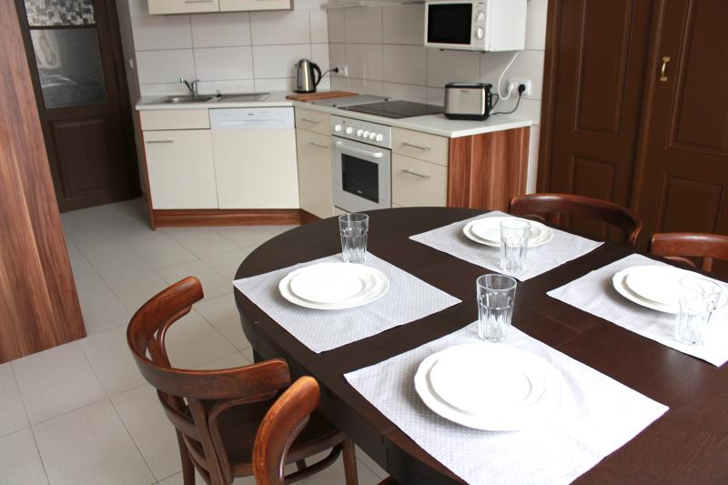 Kitchen with dish washer, microwave, oven, glass ceramic hob, electric kettle and toaster