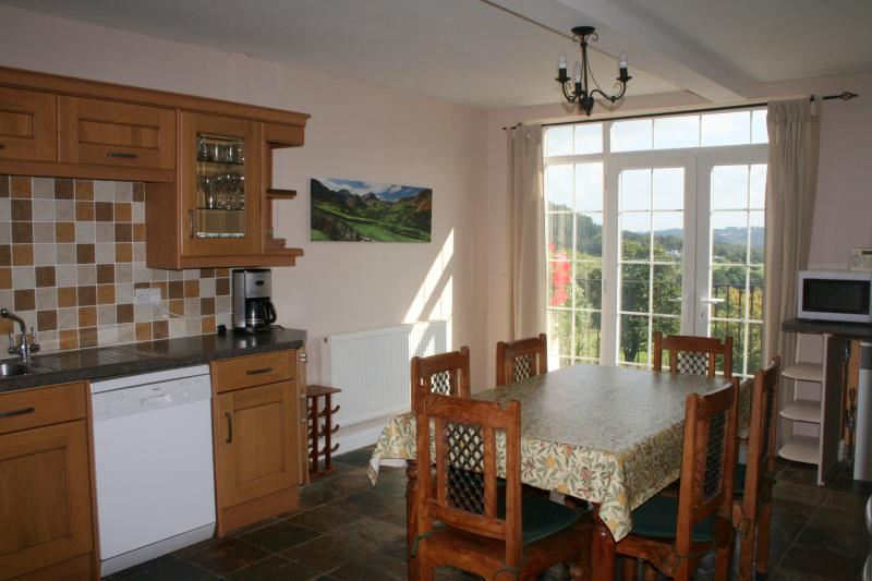 The large, well equipped kitchen with doors onto the balcony.