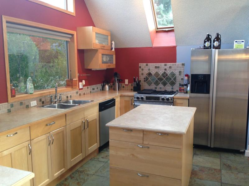 Large kitchen with mountian views