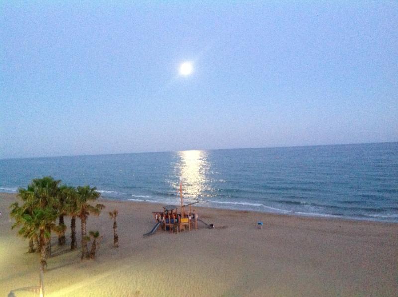 Night view of the beach from solarium