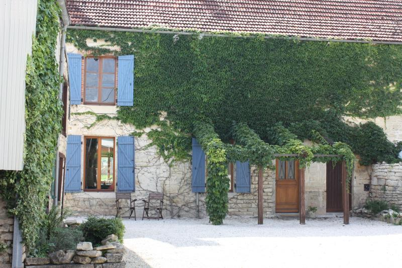 Front exterior and private courtyard of Maison Valois