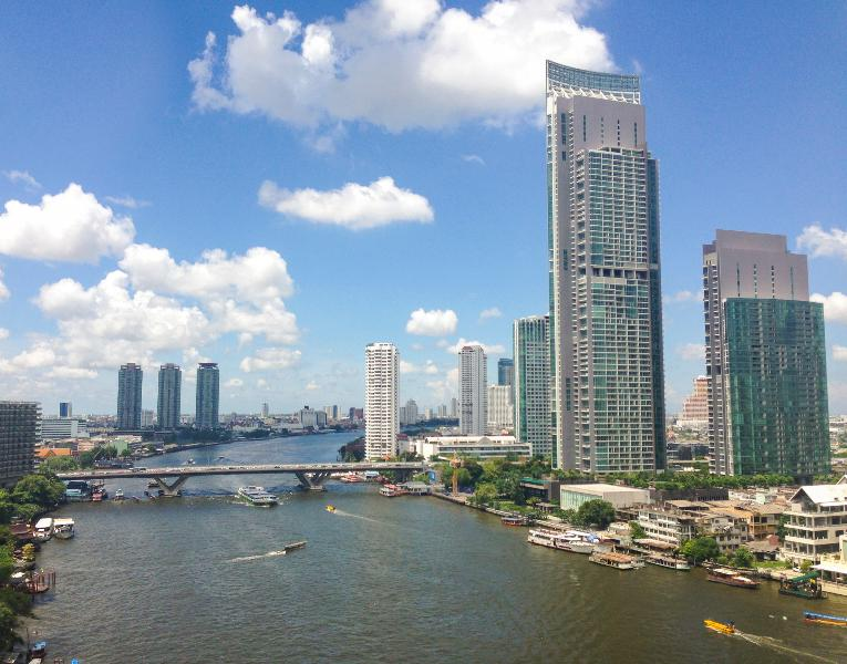 View from across The Chao Praya river :The River Condominium Building