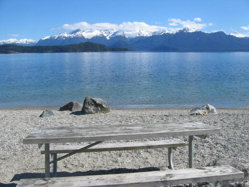 on the beach at the lake 3min walk away