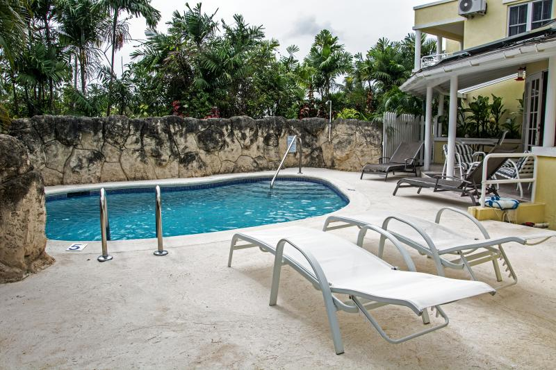 Another view of the villa pool, deck and building