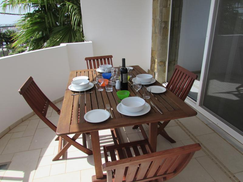 Our large middle balcony is perfect for al fresco dining
