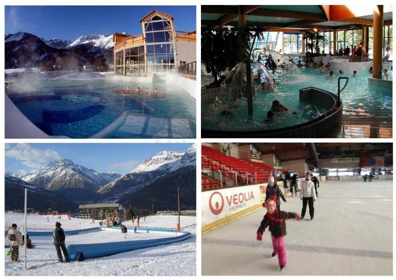 grande Bains em Monetier, andar de trenó em Puy, Briancon piscina e pista de patinação no gelo