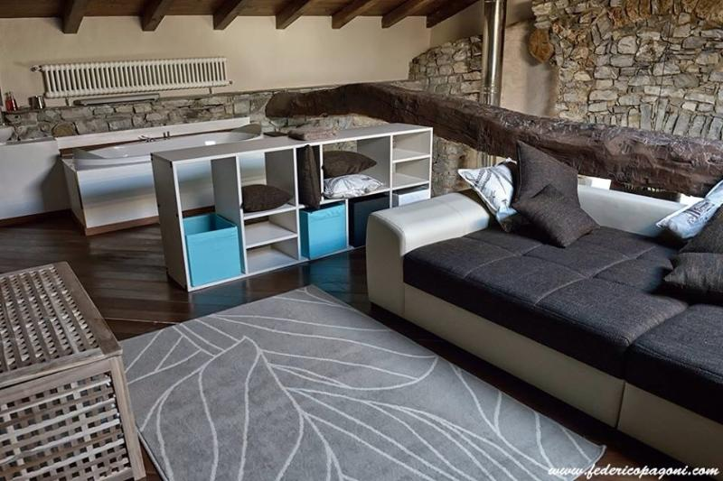 loft top floor with sofa bed for 2 people and bathroom