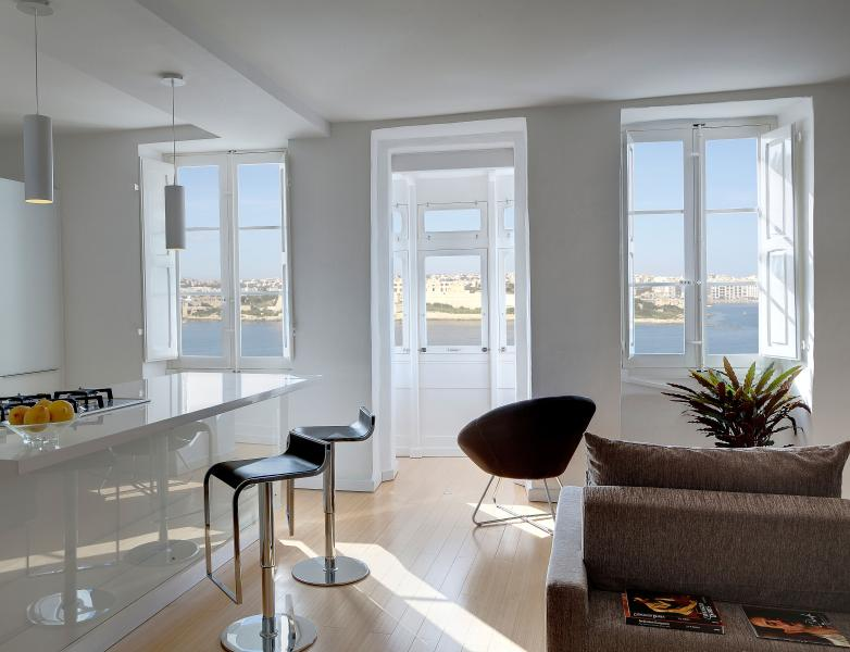 View of the open-plan living space, with breathtaking views directly below you!