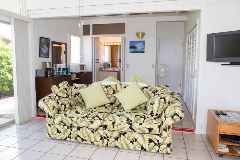 Sleeps 5 (King, Twin & Sofa Sleeper). Large bathroom and open floor plan is Handicap accessible.