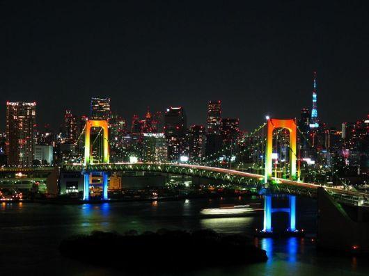 View of Rainbow bridge Odaiba.