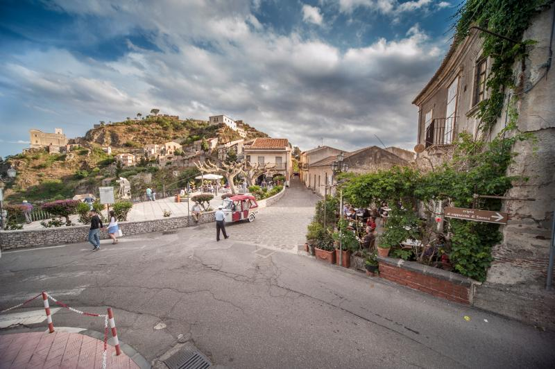"Overview of Savoca, medieval village, sandwiched between ""the most beautiful villages in Italy's and land of cinema"