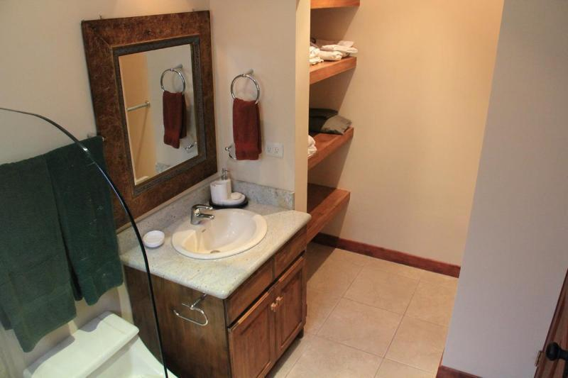 One of the three bathrooms. This one if off the master bedroom #1