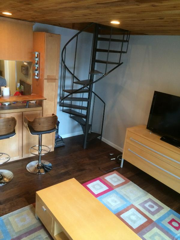 Spiral staircase to upper loft