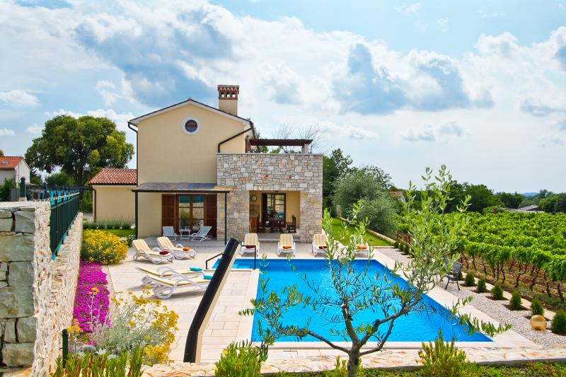 Specious villa with gorgeous sunset and vineyard views and larger than average swimming pool