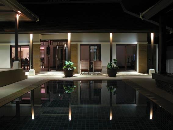 Our private pool at nighttime. This is our logo.