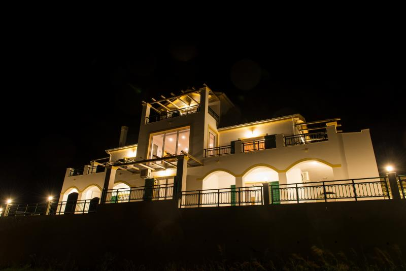 Villa Panayia at night.