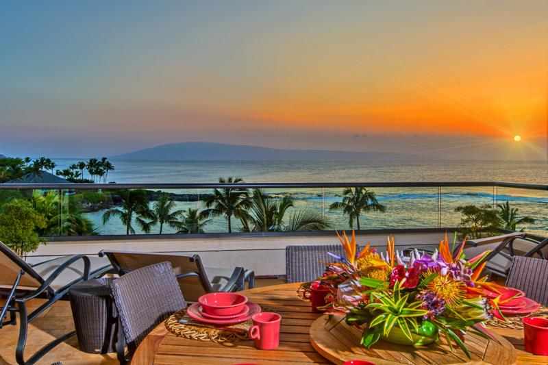 Amazing Sunsets Year-Round From 1503 Surfrider. This is your view! Kapalua Beach and Merriman's Oceanfront Dining are visible on the left side of this image.