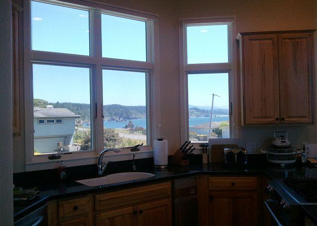 The kitchen has spectacular views of the harbor.