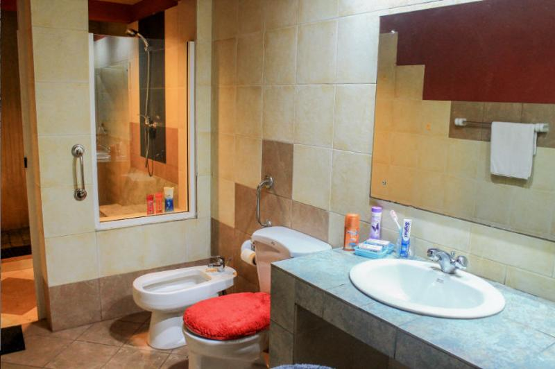 Toilet with basic toiletries, and separate shower-room with hot water