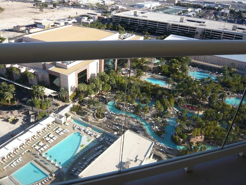 View from the balcony overlooking MGM Grand's 6-acre pool complex.
