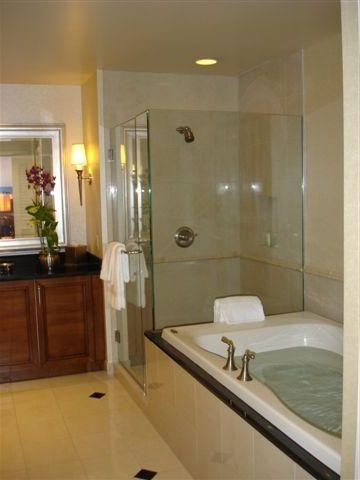 Whirlpool spa tub and separate shower in master bath