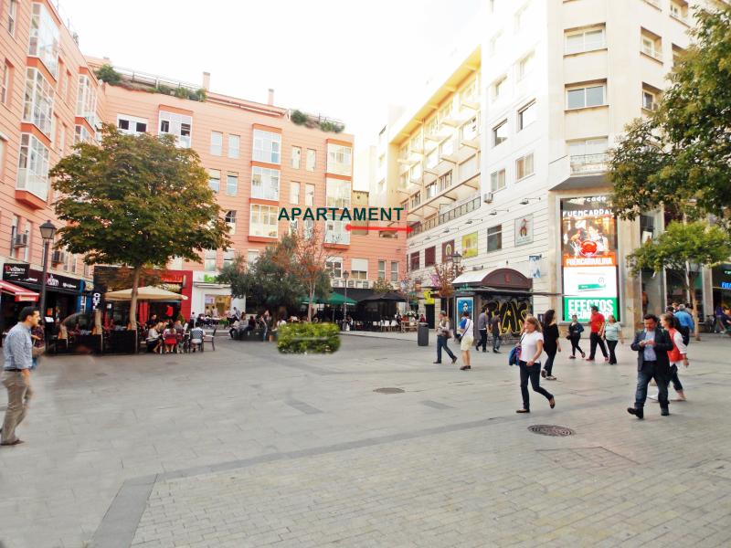 Pedestrian street and plaza where the apartment is located.