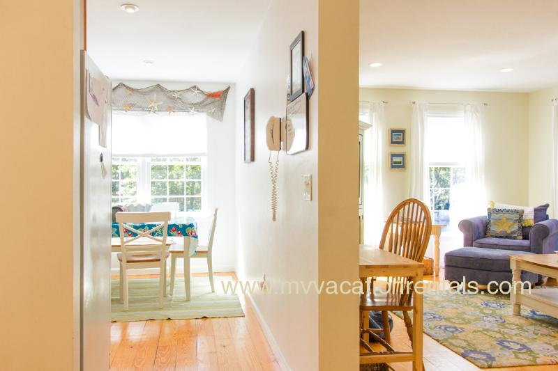 Kitchen on Left, Living Room on Right