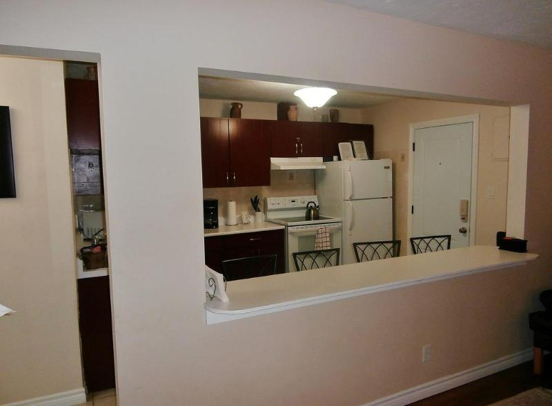 Suite 2. Elegant Front Entrance in to Suite with Open Concept Kitchen with Breakfast Bar.