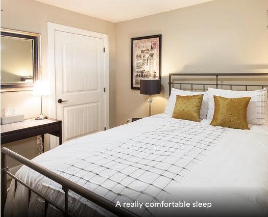 Quarto confortável e realmente confortável cama Queen