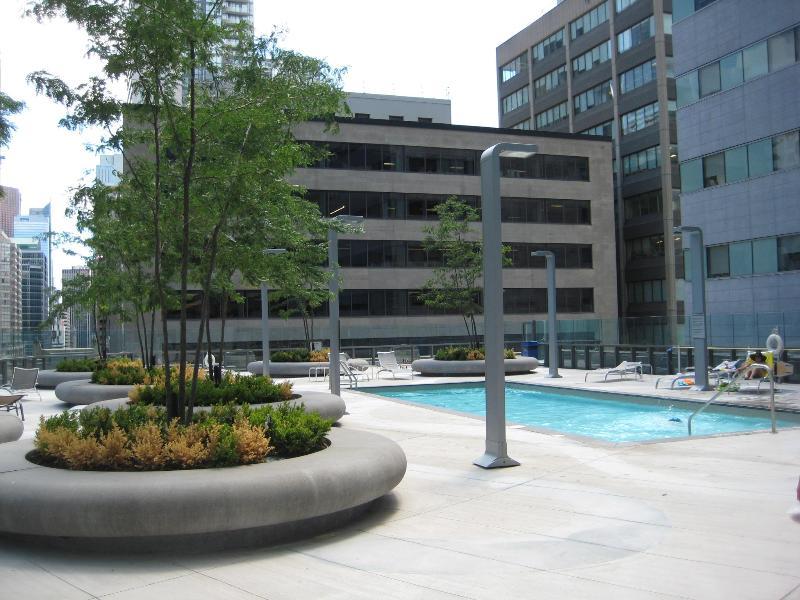 Rooftop garden and pool open in summer season.