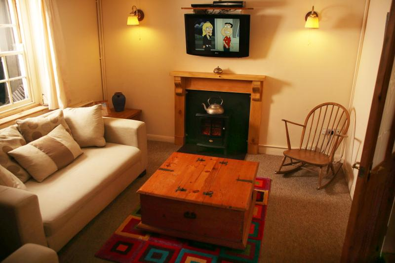 Lounge with Sky HD TV and stable door to the garden