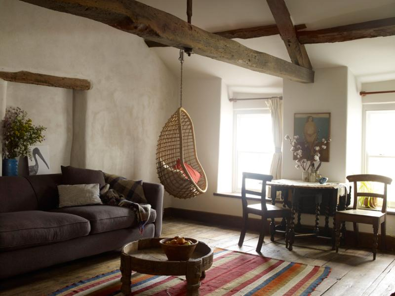 A wood burner warms this spacious lounge which dates back to the 1550's