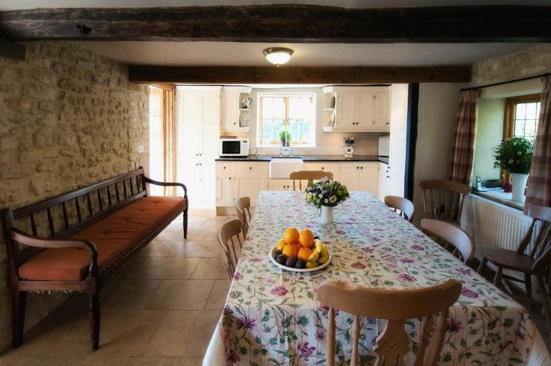 Fully equipped eat-in farmhouse kitchen with AGA