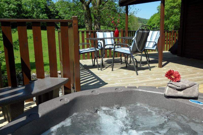 Large Sunny Decking with private sunken Hot Tub
