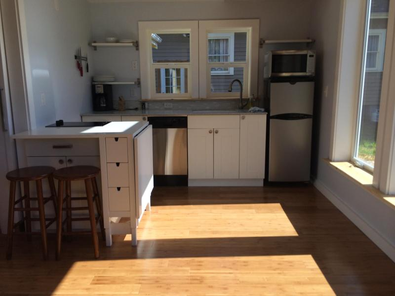 Here is the kitchen with the drop leaf down.