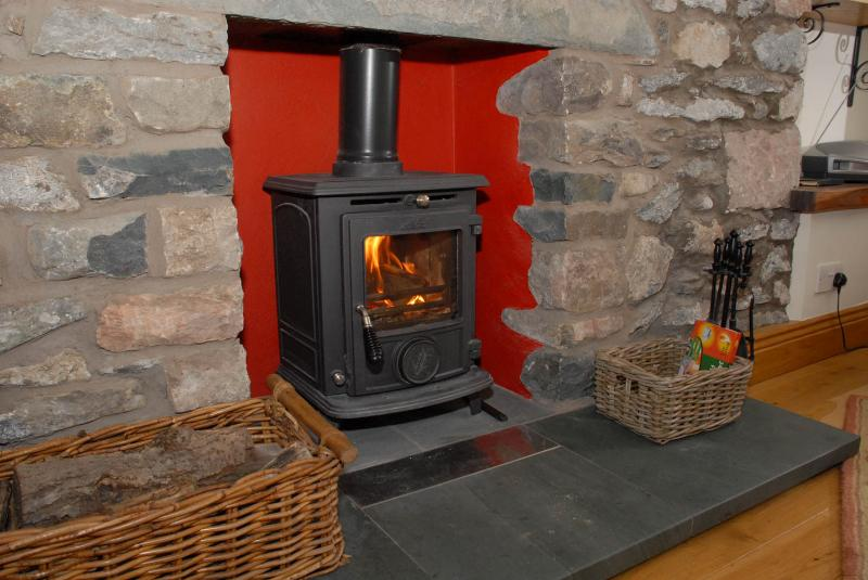 The cosy woodburner at Deepdale apartment - lovely to come home to after a day in the hills