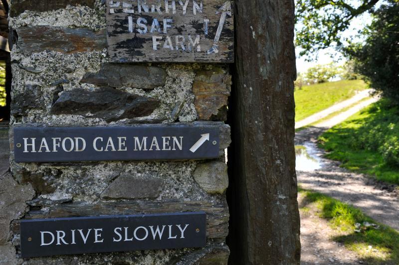 Hafod Cae Maen is accessed along a farm track