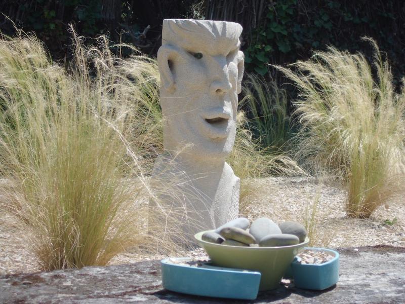 Sam Stone in grass garden