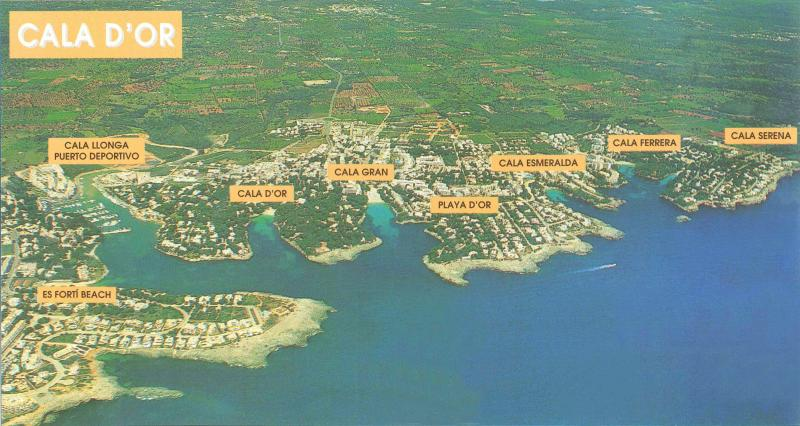Map showing all the beaches in the Cala D,or Area