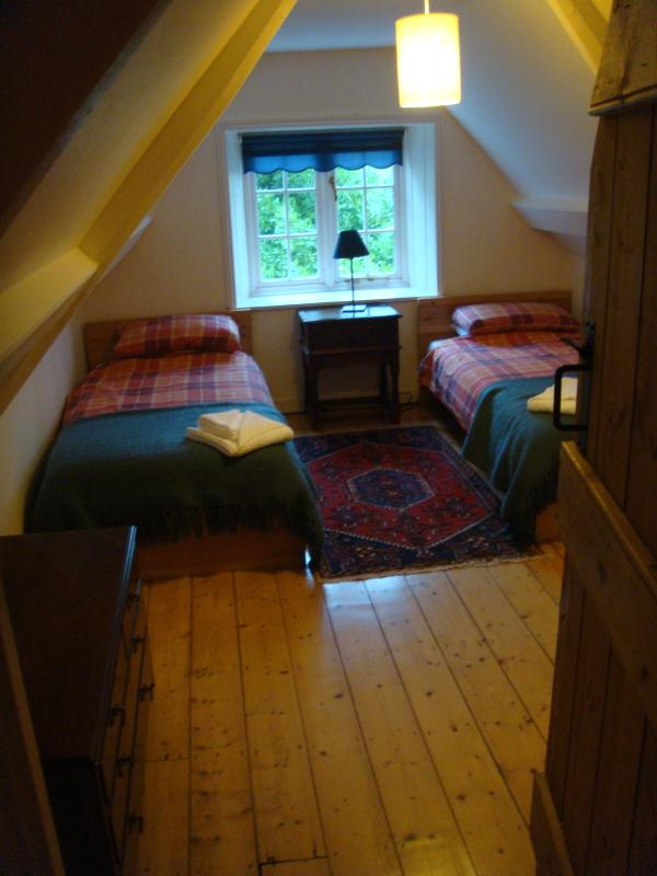 One of the twin rooms in the eaves.