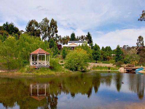 View of Gatsby Spa Studio from Lake & Gazebo