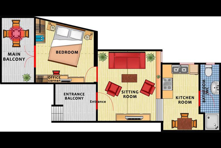 The floor plan of the apartment