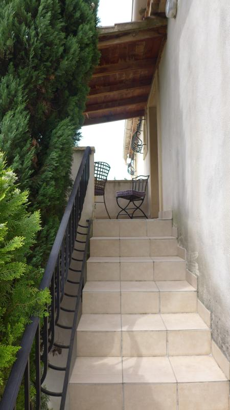 Entry stairs to terrace & gite