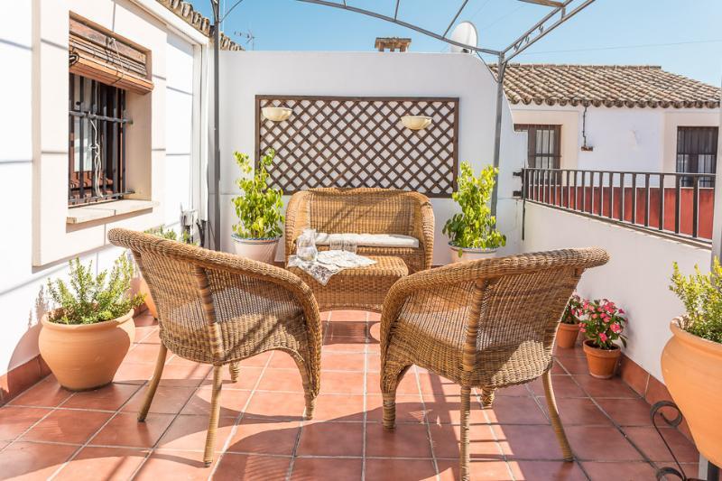 Terraza privada con sol todo el día en la Puerta de Jerez