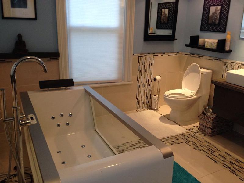 casa de banho com banheira de hidromassagem de vidro