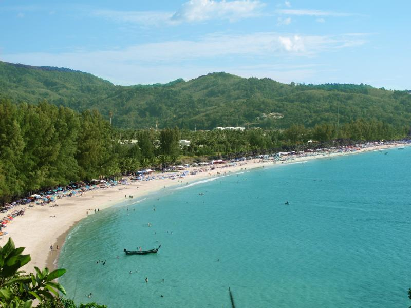 Kamala beach, a really nice beach with some restaurants along the walking path.