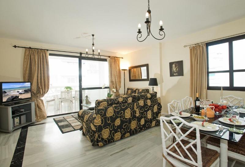 Luxuosamente mobilados e decorados sala de estar com TV de tela plana por satélite, Wi-Fi e ar condicionado