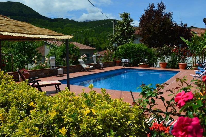 Villa Piazza large  pool with electronic cover, and internal steps.  Mountain views