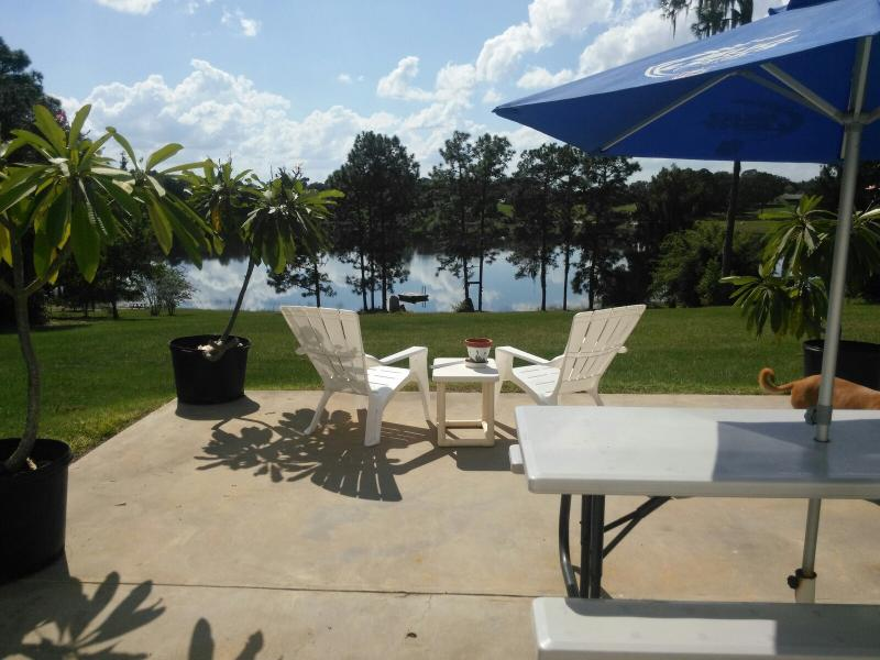 Patio overlooking swimming lake