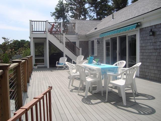 Large deck offering outdoor furniture and gas grill - Waterfront North Chatham Cape Cod New England Vacation Rentals